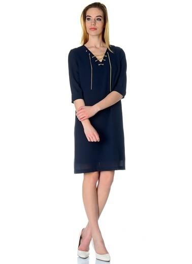 Cotton Bar Yakası Bağcıklı Kısa Elbise Lacivert